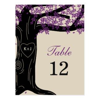Tarjeta del número de la tabla del boda del roble postales