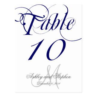 Tarjeta del número de la tabla del boda del tarjeta postal