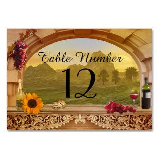 Tarjeta del número de la tabla del boda del viñedo