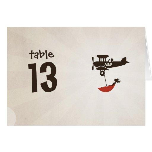 Tarjeta del número de la tabla del boda del VUELO