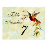Tarjeta del número de la tabla del colibrí del vin postal