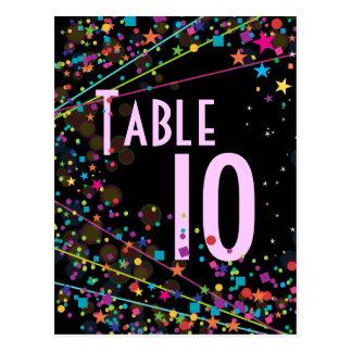 Tarjeta del número de la tabla del fiesta del club postal