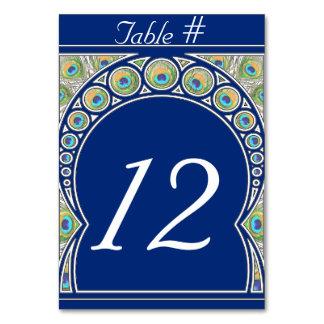 Tarjeta del número de la tabla del pavo real de