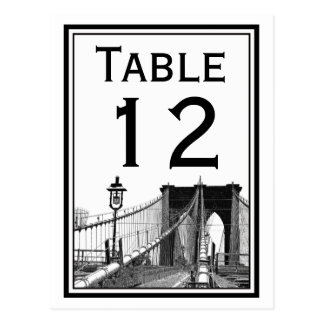 Tarjeta del número de la tabla del puente de postal