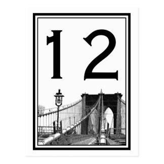 Tarjeta del número de la tabla del puente de tarjetas postales