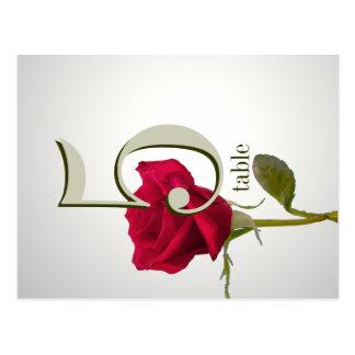 Tarjeta del número de la tabla del rosa rojo postales