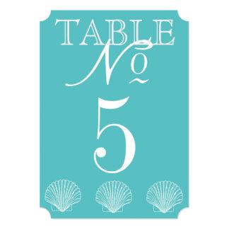 """Tarjeta del número de la tabla del Seashell del Invitación 5"""" X 7"""""""