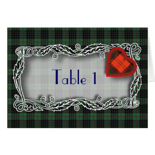 Tarjeta del número de la tabla del tartán - Gunn