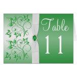 Tarjeta del número de la tabla del verde esmeralda
