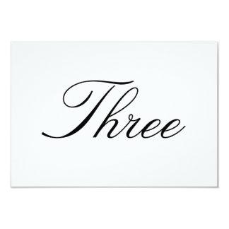"""Tarjeta del número de la tabla invitación 3.5"""" x 5"""""""