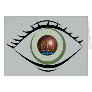 Tarjeta del ojo de Jánuca Menorah