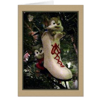 Tarjeta del ornamento de los ratones del patinaje
