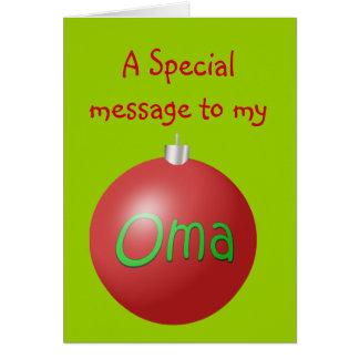 Tarjeta del ornamento del navidad de Oma