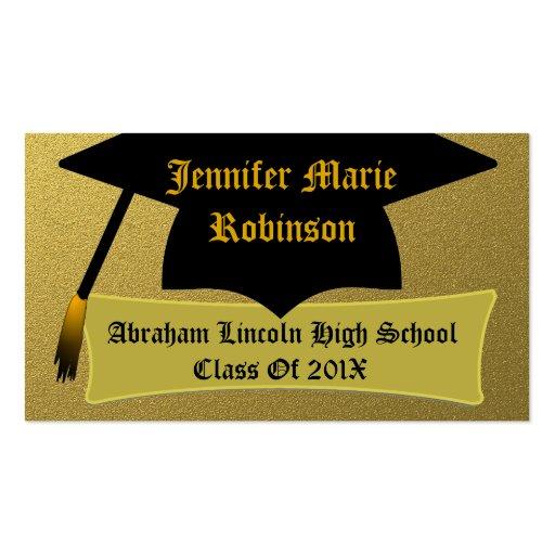 Tarjeta del oro y del graduado personalizado con c plantilla de tarjeta de visita
