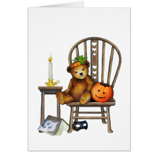 Tarjeta del oso de Halloween
