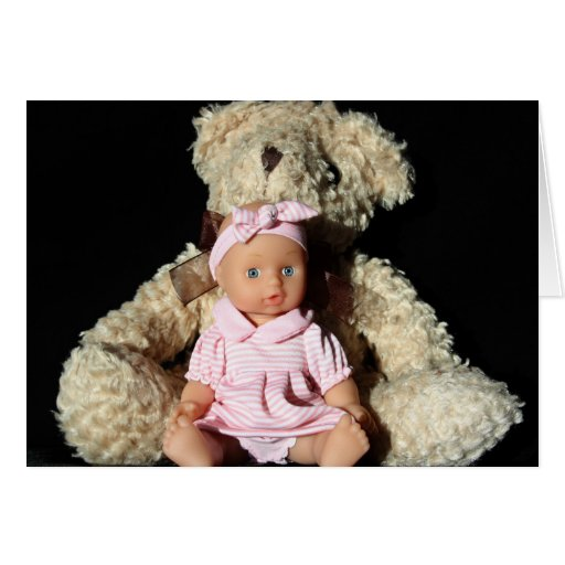 Tarjeta del oso de la muñeca y de peluche