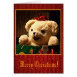 Tarjeta del oso de peluche del navidad