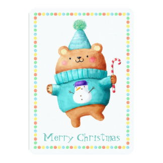 """Tarjeta del oso de peluche del navidad invitación 5"""" x 7"""""""