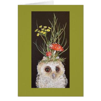 tarjeta del owlet con el gorra del toadstool