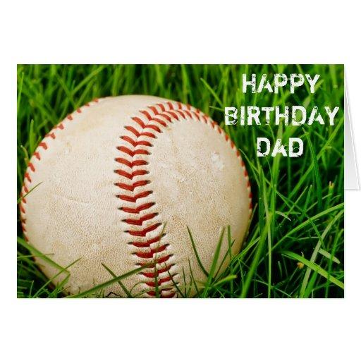 Tarjeta del papá del feliz cumpleaños del béisbol