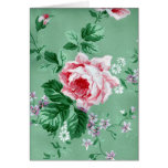 Tarjeta del papel pintado floral de la verde salvi