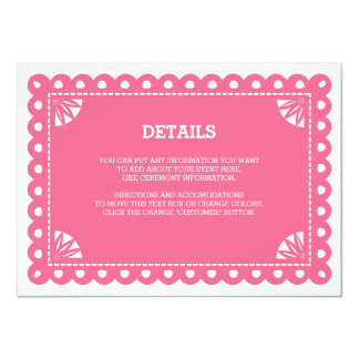 """Tarjeta del parte movible de Papel Picado - rosa Invitación 4.5"""" X 6.25"""""""
