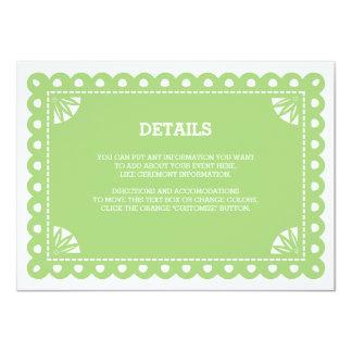 """Tarjeta del parte movible de Papel Picado - verde Invitación 4.5"""" X 6.25"""""""