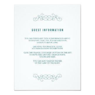"""Tarjeta del parte movible del boda de la marina de invitación 4.25"""" x 5.5"""""""