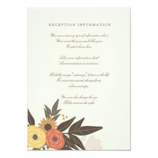 """Tarjeta del parte movible del boda del follaje de invitación 4.5"""" x 6.25"""""""
