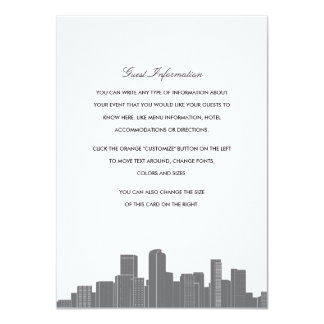 """Tarjeta del parte movible del boda del horizonte invitación 4.5"""" x 6.25"""""""