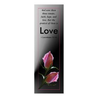 Tarjeta del perfil de la escritura del amor tarjetas de visita mini