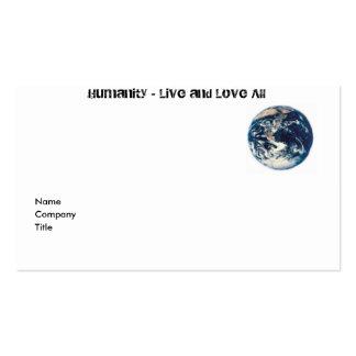 Tarjeta del perfil de la humanidad tarjetas de negocios