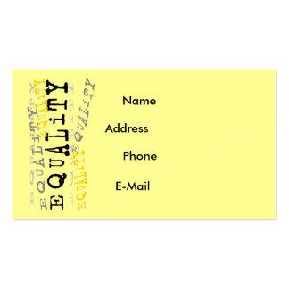 Tarjeta del perfil de la igualdad tarjetas de negocios