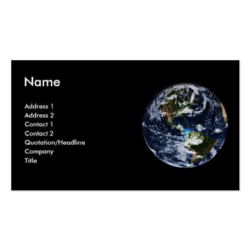 Tarjeta del perfil de la tierra del planeta plantillas de tarjetas personales