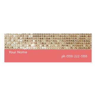 Tarjeta del perfil de las lentejuelas del oro mini tarjetas de visita mini
