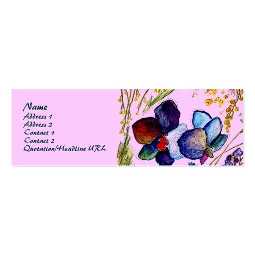 Tarjeta del perfil de las orquídeas azules tarjetas de visita mini