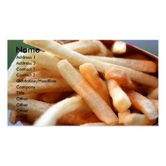 Tarjeta del perfil de las patatas fritas plantillas de tarjetas personales