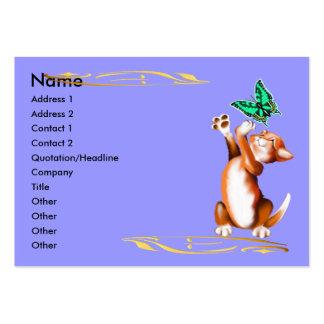 Tarjeta del perfil del gatito y de la mariposa tarjetas de visita grandes