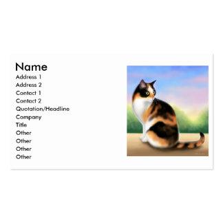 Tarjeta del perfil del gato de calicó tarjetas de visita