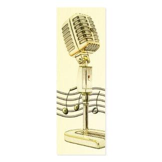 Tarjeta del perfil del micrófono del vintage mini