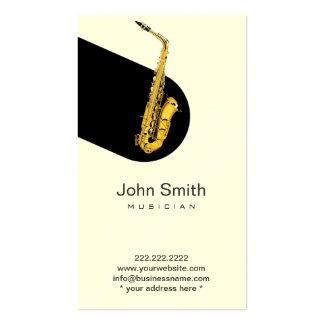 Tarjeta del perfil del músico del saxofón del jazz tarjetas de visita