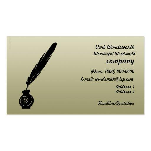 Tarjeta del perfil del negocio de los escritores d plantilla de tarjeta personal