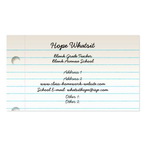 Tarjeta del perfil del negocio del profesor tarjetas de visita
