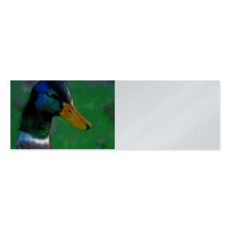 Tarjeta del perfil del pato silvestre tarjeta de visita