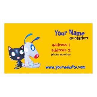 tarjeta del perfil del perro y del gato tarjetas de visita