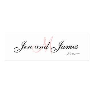 Tarjeta del perfil del rosa del monograma del tarjetas de visita mini