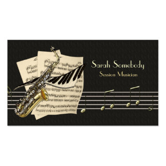 Tarjeta del perfil del saxofón y de la música del
