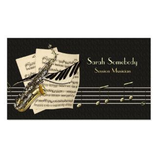 Tarjeta del perfil del saxofón y de la música del  plantilla de tarjeta personal