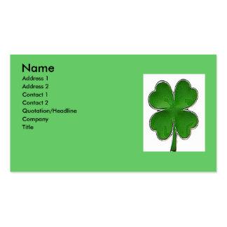 Tarjeta del perfil del trébol de 4 hojas plantilla de tarjeta de negocio