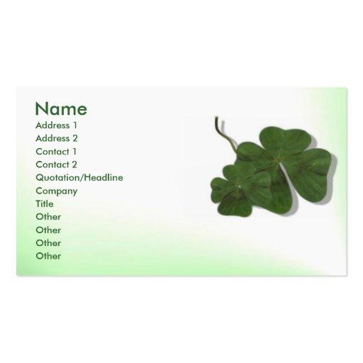 Tarjeta del perfil del trébol de cuatro hojas tarjetas de visita